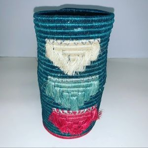 NWT HANDWOVEN BOHO ARTISAN CRAFTED AFRICAN BASKET